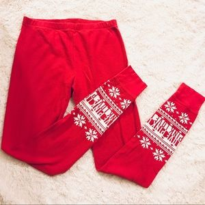 VS PINK Red & White Winter Thermal Pajamas Small